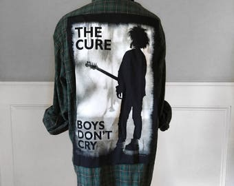 The Cure Flannel Tee The Cure Boys Don't Cry t shirt on vintage  super soft brushed cotton green plaid flannel shirt Men's large