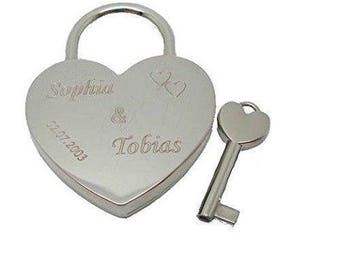 Love lock with engraved heart padlock silver bridge Castle