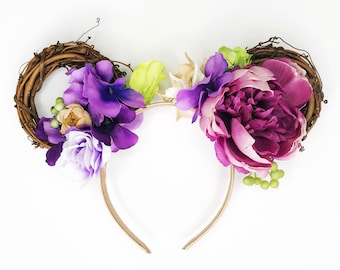Violet Floral Minnie Ears/ Violet Lemonade Disney Ears/ Flower and Garden Minnie Ears/ Grapevine Wreath Headband