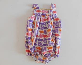 Colourful animals yoke-topped rompers