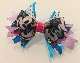 MICKEY MOUSE HAIR bow Disney ribbon handmade hair clip