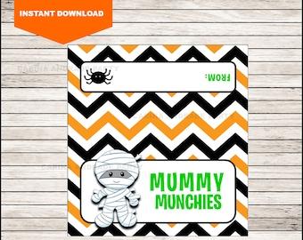 Mummy Halloween Bag Toppers - Halloween Birthday Bag Toppers - Halloween Bag Labels - Halloween Treat Bags - Halloween Treat tags