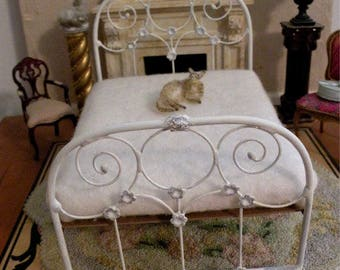 "Artisan Made Dollhouse Miniature Wrought Iron Look Bed ""PIPPA"" 1:12 Scale Twin and Full, Half Scale"