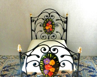 """Artisan Made Dollhouse Miniature Wrought Iron Look Bed """"Jolie Noir"""" 1:12 Scale Twin and Full, Half Scale"""