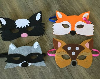 animal mask of the forest, Fox, deer, raccoon and Skunk in felt