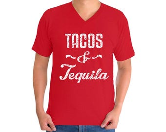 Tacos and Tequila V-neck T shirts Men's Shirts Tops Taco Mexican Drinking Party Mexico Vacation shirt