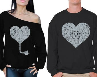 Heart Sweatshirts for Couples Heart Matching Couple Sweaters His and Hers Sweaters Valentines Couples Love Gifts for Valentine's Day