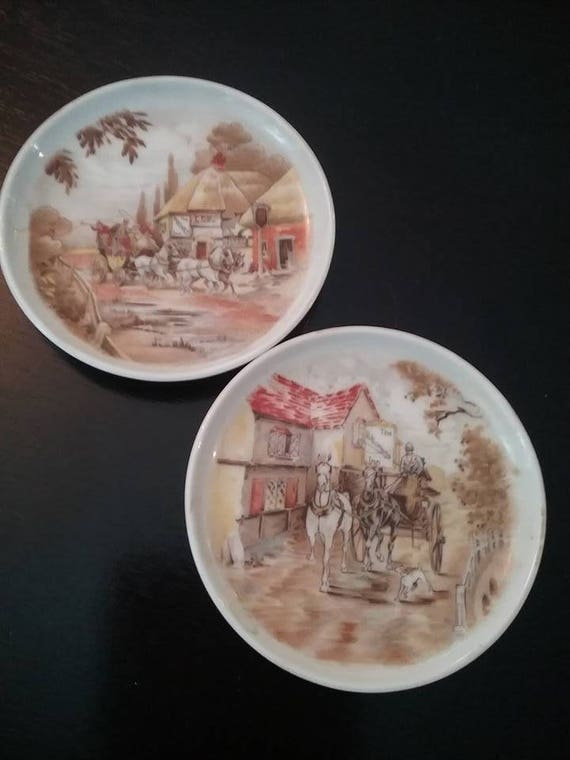 Kaiser West Germany Mini plates, Decorative German Plates, Kaiser Mini plates of German Countryside Inns, Bavarian Inn Mini Dishes