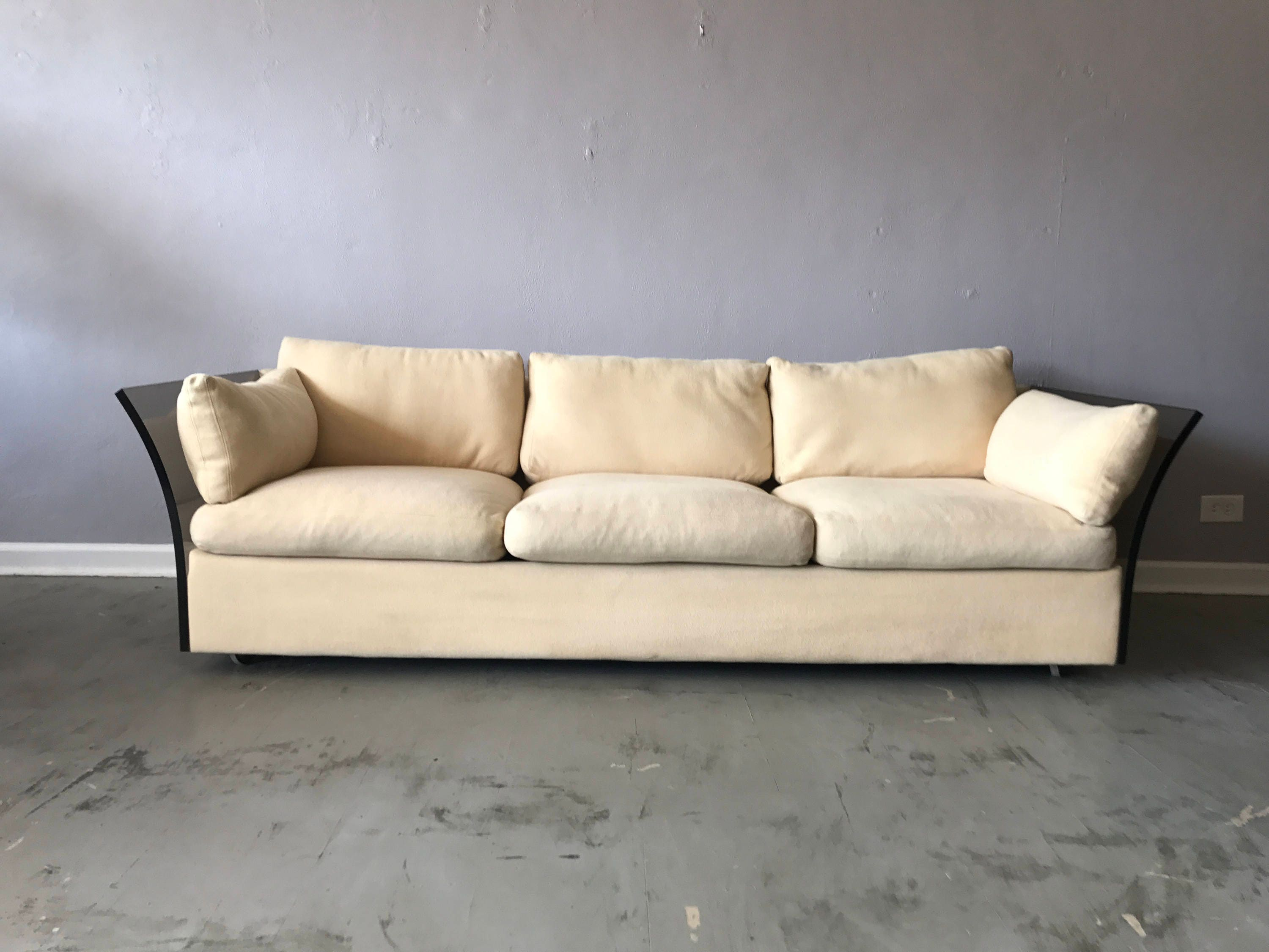 Milo Baughman for Thayer Coggin Sofa with Lucite Arms