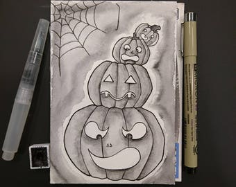 "Drawlloween original art ""Pumbkin"" (postcard)"