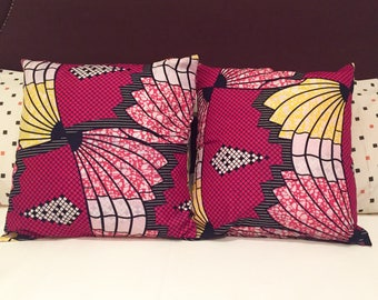 Ankara Ijo Fan Throw Pillow Covers // 18 x 18