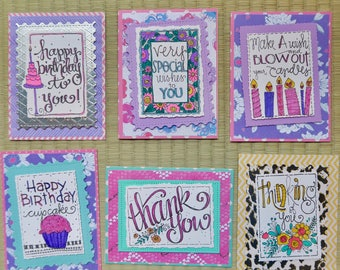 pack of 6 handmade all occasion cards, greeting cards, note cards, friendship card, birthday cards,free shipping