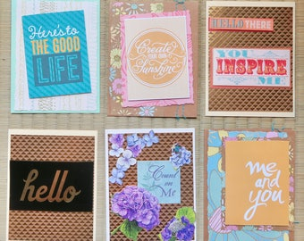 pack of 6 handmade cards, all occasion cards, note cards, friendship cards, free shipping