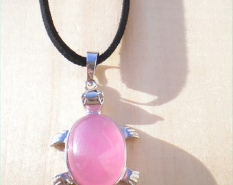 Pink Turtle Necklace. Black Cord With Pink Gem, Jewelry Findings