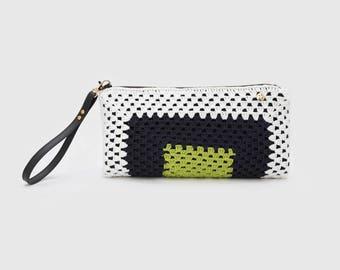 Handmade XL crochet clutch. White, dark blue and green. Limited Edition