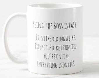 FUNNY office MUG - 11 oz 15 oz Ceramic Coffee Cup - Everything is on fire - Boss - friend - mom - Gag Gift present - office work - sarcastic