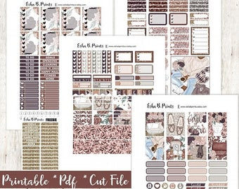 Cozy 'N' Chic DARK Printable Planner Stickers/For Use with Erin Condren/Cut File/Fall September  Glam Sweater Weather Candle Me Time TN