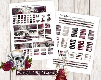 Wicked Affair Printable Planner Stickers/B6 Travelers Notebook/Monthly Kit/Annie Plans Printable/Fall October Glam Halloween Witch