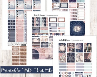 Celestial Printable Planner Stickers/Weekly Kit/For Use with Erin Condren/Cutfiles Winter January Glam Moon Stars Sun Night Boho Zodiac Sign