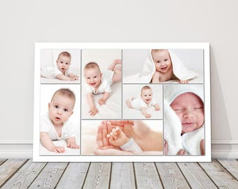 canvas print bespoke design collage picture perfect gift ideal for wedding birthdays new born babies  holidays etc lots of sizes