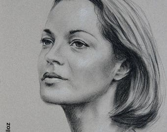 "Original portrait of Romy Schneider 30 x 40 cm 12 x 16 ""portrait of actress portrait of woman"