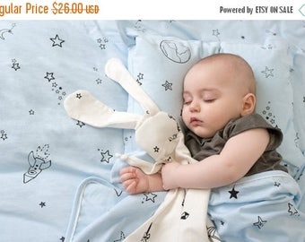 ON SALE Gray  bunny-organic Security blanket- lovey blanket Made from  organic jersey cotton with stars print or origami ,baby gift, baby sh
