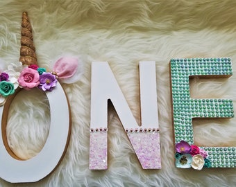 Unicorn ONE Wooden Letters: First Birthday Unicorn Party prop, Unicorn Photo Prop, Unicorn Decor.