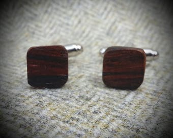 Small Square Rosewood Crickhollow Cufflinks