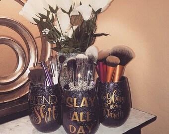Glitter makeup brush holders - set of 3