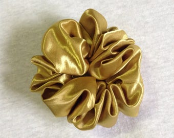 Yellow Gold Satin Hair Scrunchie,Scrunchy,Handmade,Novelty fabric used,Hair tie,Hair accessory,Golden,Shiny,Luxury smooth texture