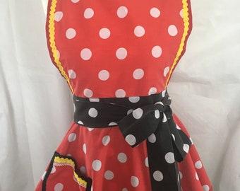 retro spotty apron, 50s style apron , apron, cooking apron