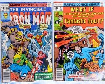 Iron Man and What If Comic Books- 2 Marvel Comics.