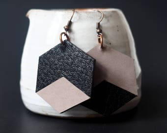 Leather Hexagon earrings