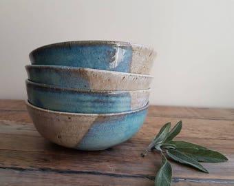 Set of four coastline bowls