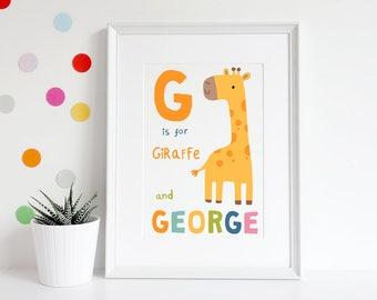 New Baby Gift, Christening Gift, Baby Girl Gift, Baby Boy Gift, 1st Birthday Gift, Nursery decor, Nursery Print, Animal Alphabet Print