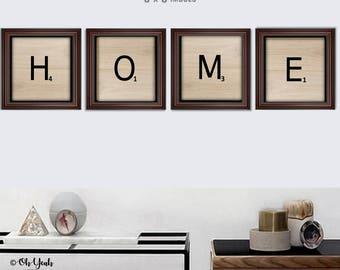 Home Scrabble Print 8x8 Digital Art Print Set of 4