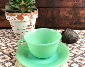 Lovely Delicate Fire King Jadeite Teacup and Saucer Set