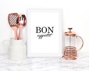 Bon appetit- Kitchen Art Print, Kitchen Quote, Typography Print, Kitchen Wall Art, Dining Room Print