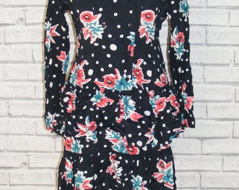 Size 10 vintage 80s long sleeve rara dress double breasted floral/spots (HR65)