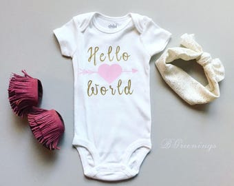 Hello World Pink and Gold Baby Girl Outfit, Pink and Gold Coming Home Outfit, Pink and Gold Newborn Outfit, Pink and Gold Baby Shower Gift