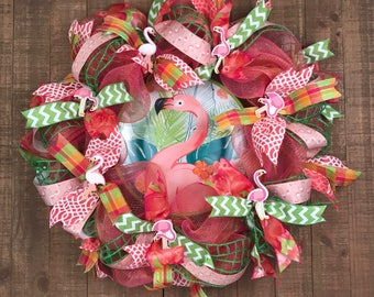 Flamingo Theme Deco Mesh Wreath, Flamingo Summer Wreath, Pink Orange Lime Summer Wreath, Summer Deco Mesh Wreath, Pink Flamingo Decor,