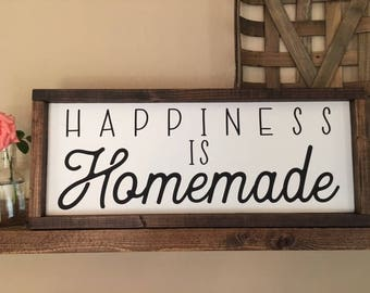 Happiness Is Homemade Sign, Homemade Sign, Happiness Sign, Farmhouse Sign, Fixer Upper Decor, Fixer Upper Sign, Happiness Is Homemade