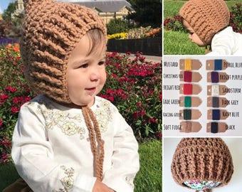 Ribbed front pixie bonnet, pixie hat, baby bonnet, winter baby bonnet, winter baby hat, toddler pixie bonnet, unusual baby hat, baby shower