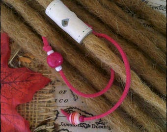 XS/S - Unique hand crafted, up-cycled genuine leather dread/beard/hair cuff/bead with beaded tails XS/S