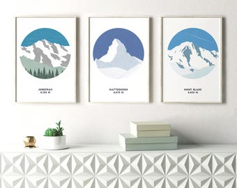 Set of 3 Mountain Prints, Alp Prints, Mountain Art, Jungfrau, Matterhorn, Mont Blanc