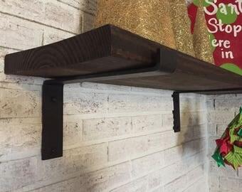 6 inch deep x 2 inch wide x 1/4 thick  Steele shelf bracket, Rustic shelf bracket, Industrial shelf bracket, Handmade shelf bracket