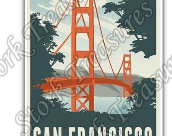 San Francisco Golden Gate Bridge California Car Bumper Vinyl Sticker Decal