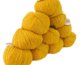 10 x 50 g luxury Knitting yarn Sapphire sequins, color 101 mango