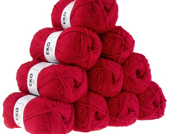 10 x 50 g knitting wool EKO FIL, #004 poppy