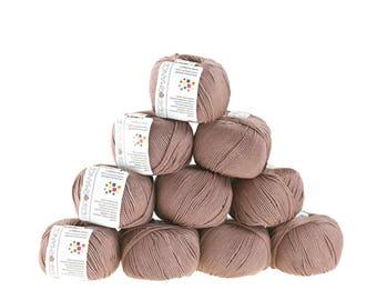 10 x 50g knitted yarn cotton gem #572 Brown